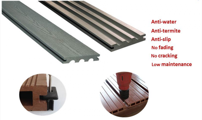Waterproof WPC Composite Decking Anti - Uv Eco Composite Decking