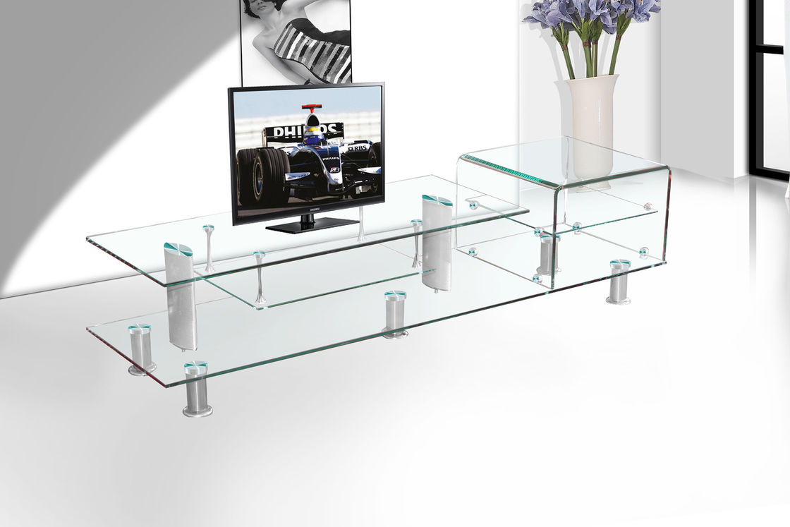 10MM Clear Heat Tempered Glass With CCC Certificate , Glass Tv Stand